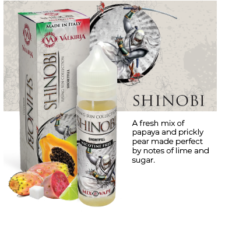 Shinobi by Valkiria is a mix of papaya, pear, lemon and sugar. This shortfill e-liquid is produced in Italy and is sold in 60ml bottles filled up to 50ml.