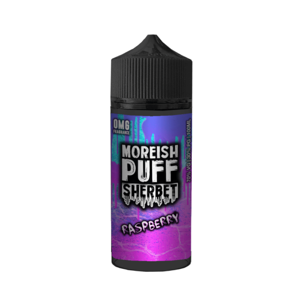 Moreish Puff Sherbet Raspberry is a refreshing sherbet with sweet strawberry flavour. This shortfill e-liquid is produced in the United Kingdom by Moreish Puff with a PG/VG ratio of 30%PG/70%VG and is sold in 120ml bottles filled up to 100ml so you can add 20ml base.