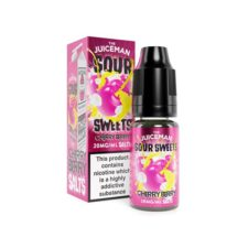 Cherry Berry by The Juiceman Sour Sweets is a pineapple and tangerine e-liquid with Nicotine Salts. This Nic Salt has a PG/VG ratio of 50%PG/50%VG. It is available in 10ml bottles. You can order it with 10mg/ml or 20mg/ml NS. Manufactured in the UK.